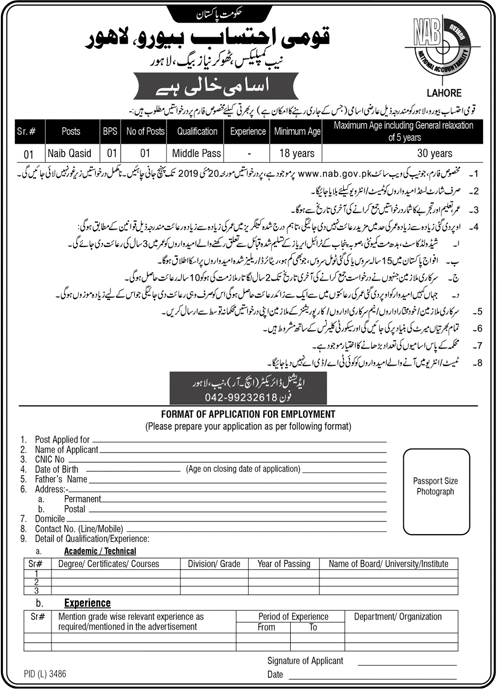 National Accountability Bureau (NAB) jobs 2019