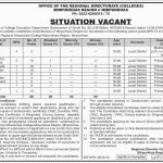 Office Of The Regional Directorate Colleges Mirpur Khas Jobs 30 May 2019