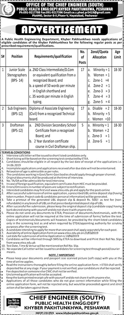 Public Health Engineering Department jobs 2019