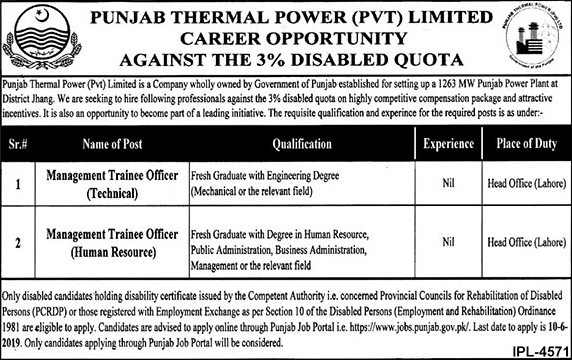 Punjab Thermal Power Pvt Limited jobs 2019