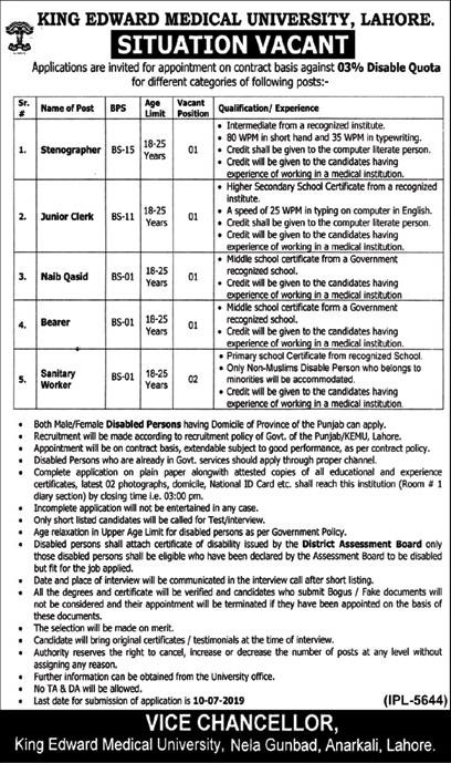King Edward Medical University Lahore (KEMU) jobs 2019
