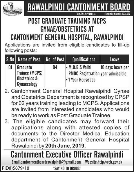 Cantonment Board jobs 2019
