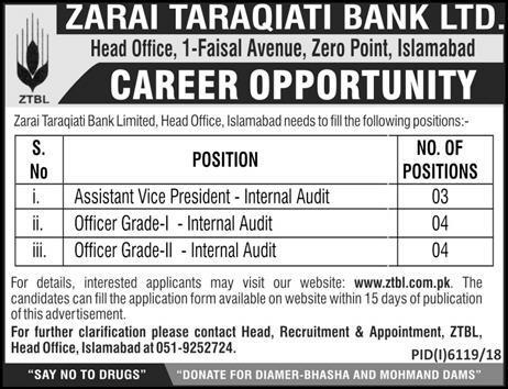 Zarai Taraqiati Bank Limited jobs 2019