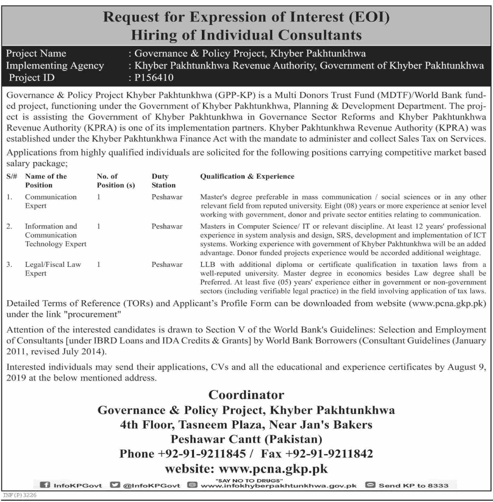 Board of Revenue Khyber Pakhtunkhwa jobs 2019