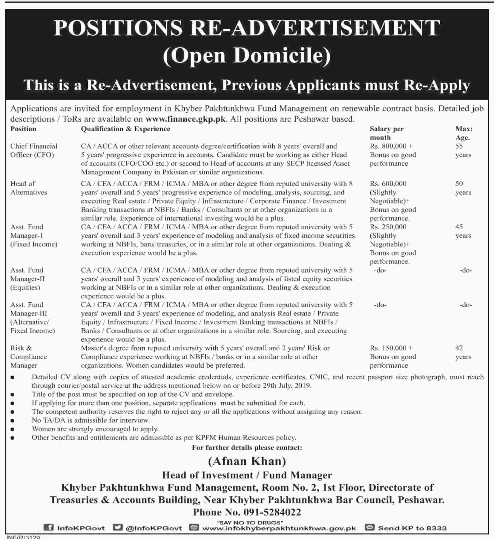 Finance Department Govt Of KPK Jobs 12 Jul 2019 - Prepistan Jobs