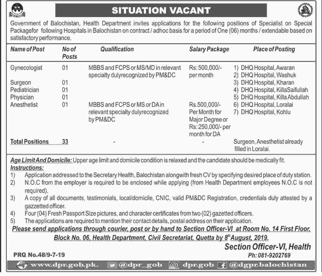 Health Department Govt of Balochistan jobs 2019