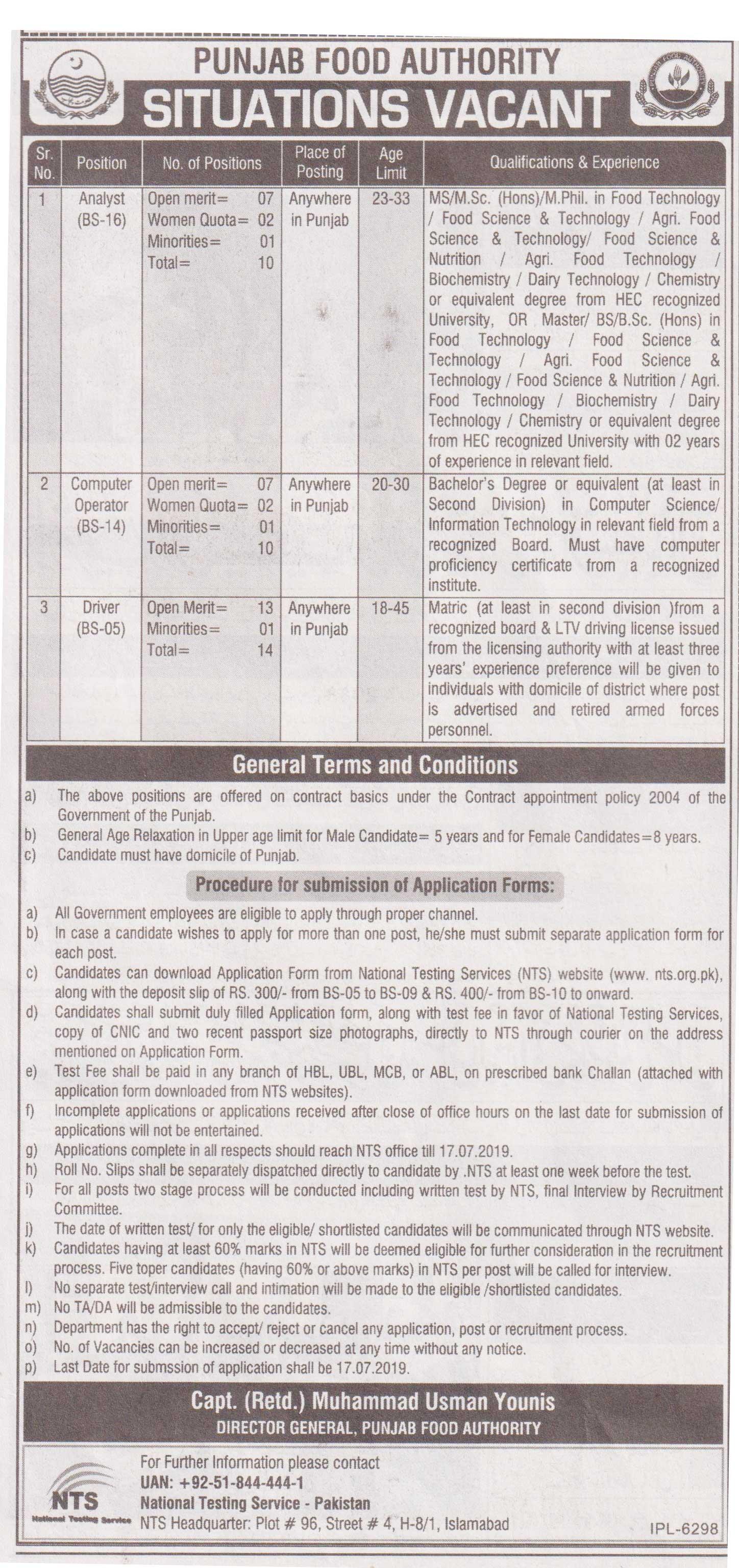NTS Announced Latest Punjab Food Authority Jobs 24 Jul 2019
