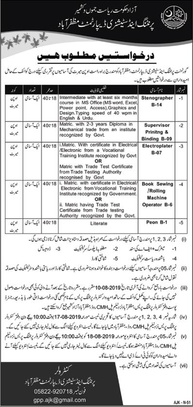 Printing And Stationery Department Muzaffarabad Jobs 27 Jul