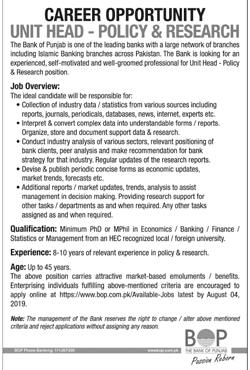 Bank of Punjab jobs 2019