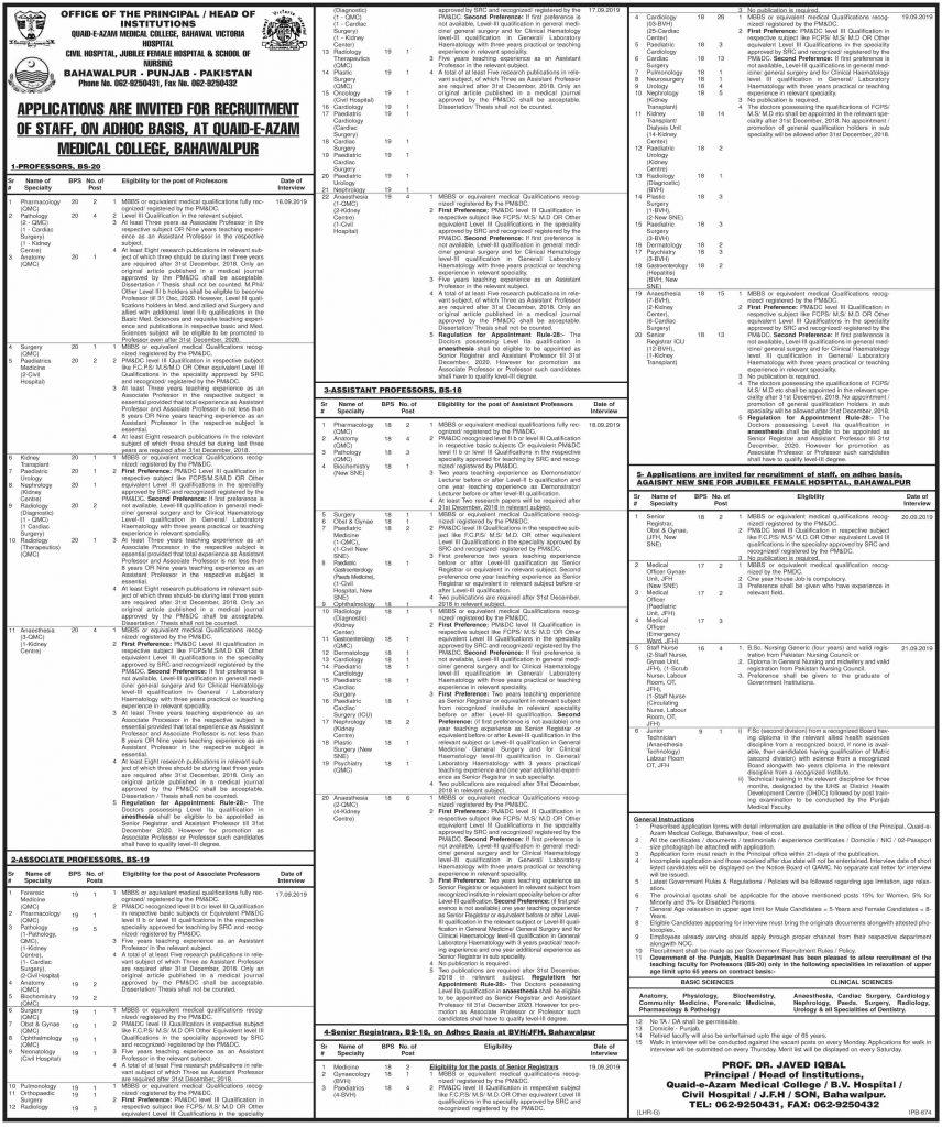 Bahawal Victoria Hospital Jobs 10 Aug 2019 - Prepistan Jobs