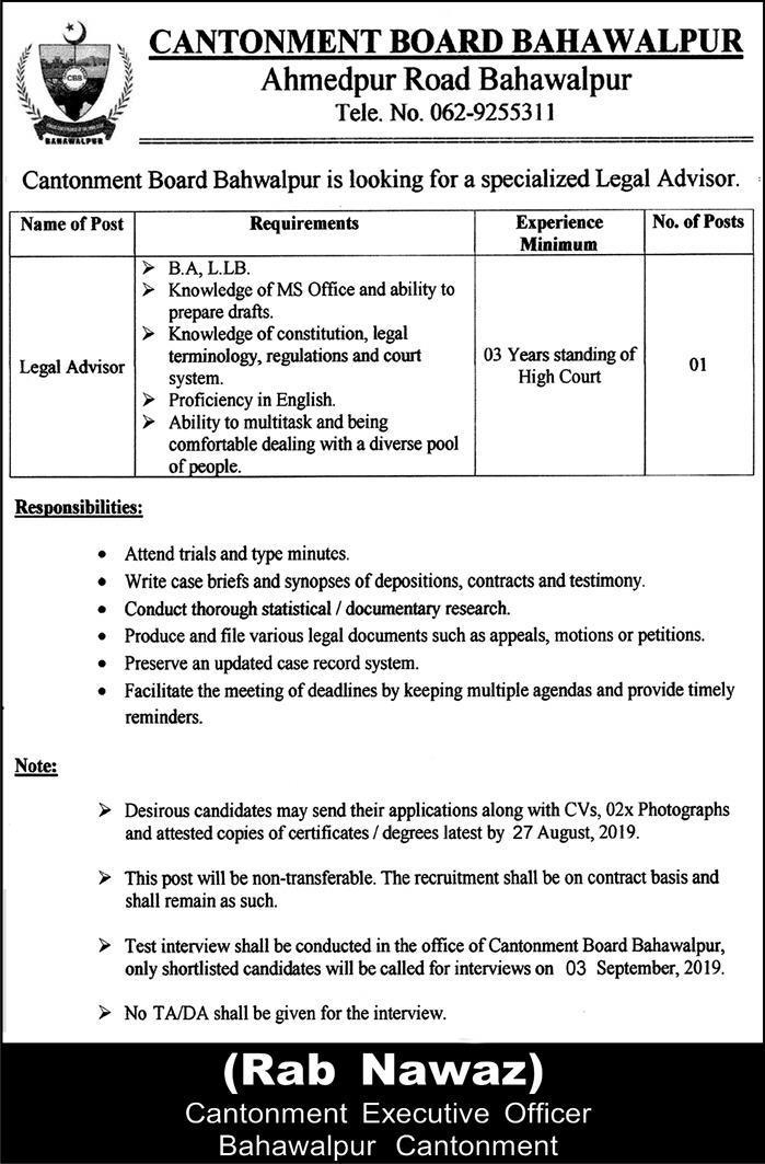 Cantonment Board Bahawalpur Jobs 09 Aug 2019 - Prepistan Jobs