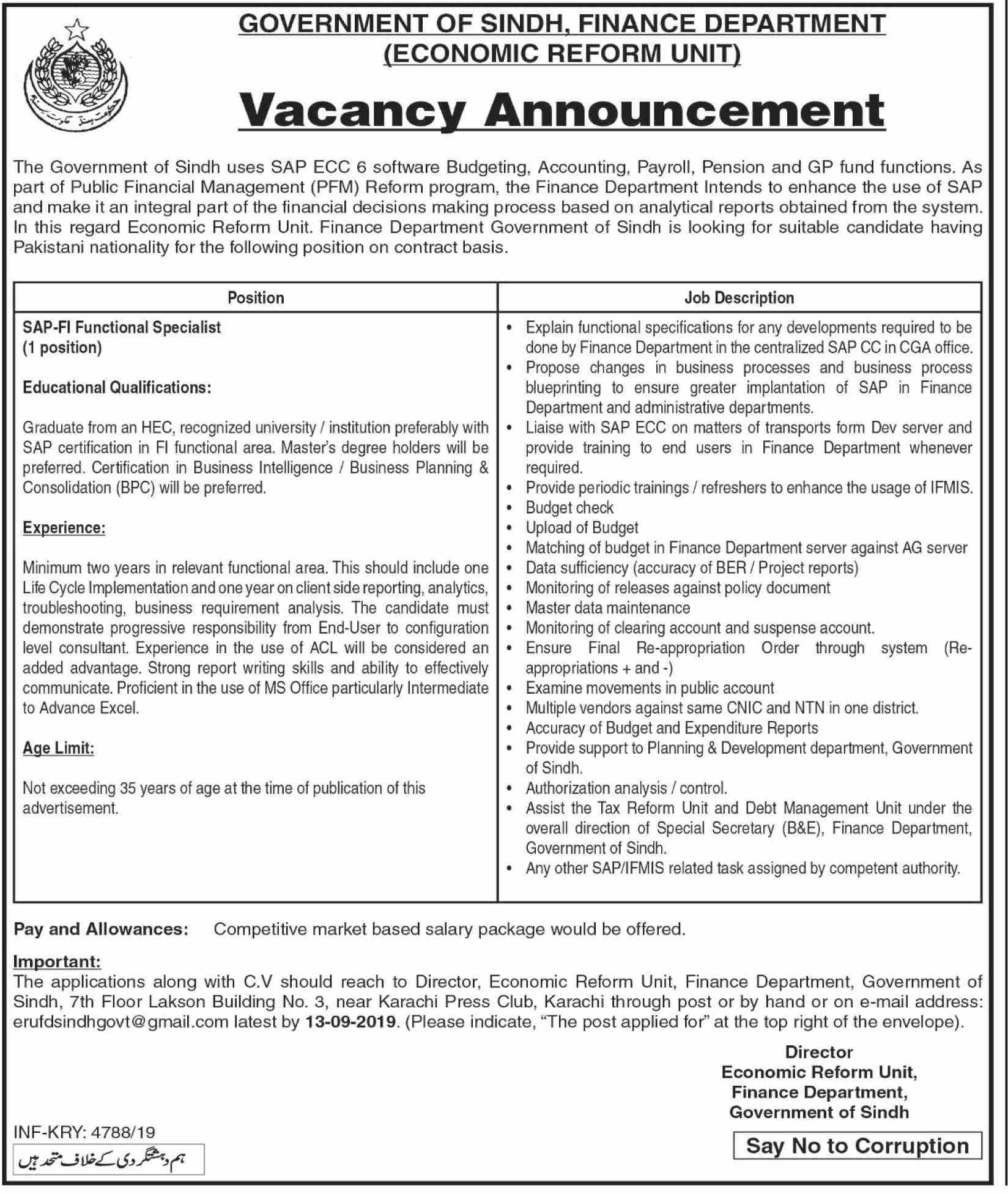 Finance Department Sindh Jobs 29 Aug 2019 - Prepistan Jobs