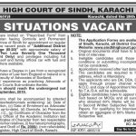 High Court Of Sindh Jobs 31 Aug 2019