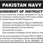 Instructors Required In Pakistan Navy Jobs 11 Aug 2019