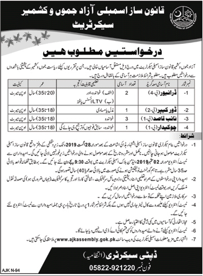 Legislative Assembly Azad Jammu and Kashmir jobs 2019