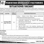 Principal Required In Pakistan Ordnance Factories Jobs 17 Aug 2019