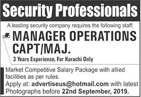Manager Operations Required In Security Company Karachi 15 September 2019