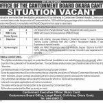 Office Of The Cantonment Board Okara Cantt Jobs 06 Sep 2019