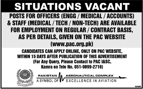 Pakistan Aeronautical Complex Board jobs 2019