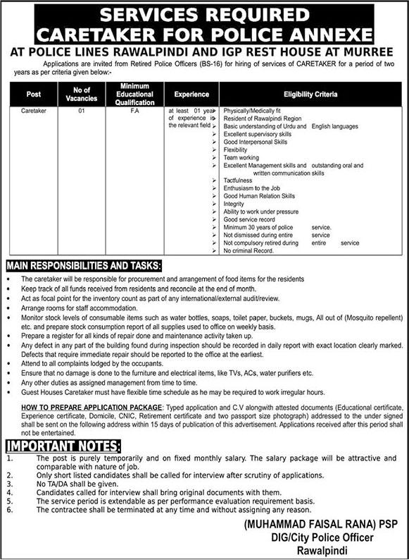 Jobs In Police Department Rawalpindi 17 September 2019
