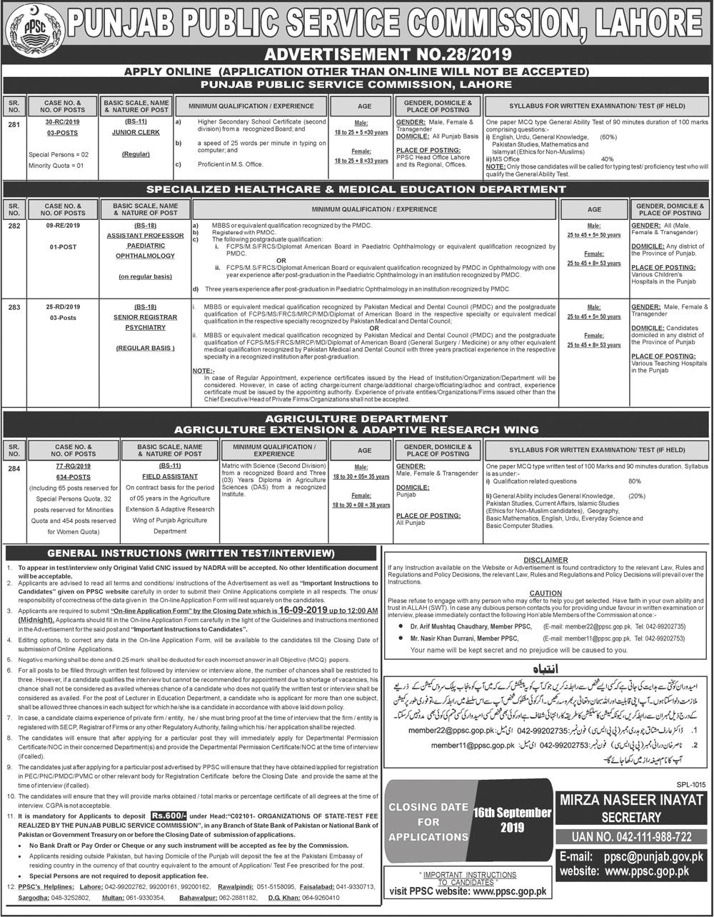 Punjab Public Service Commission (PPSC) jobs 2019