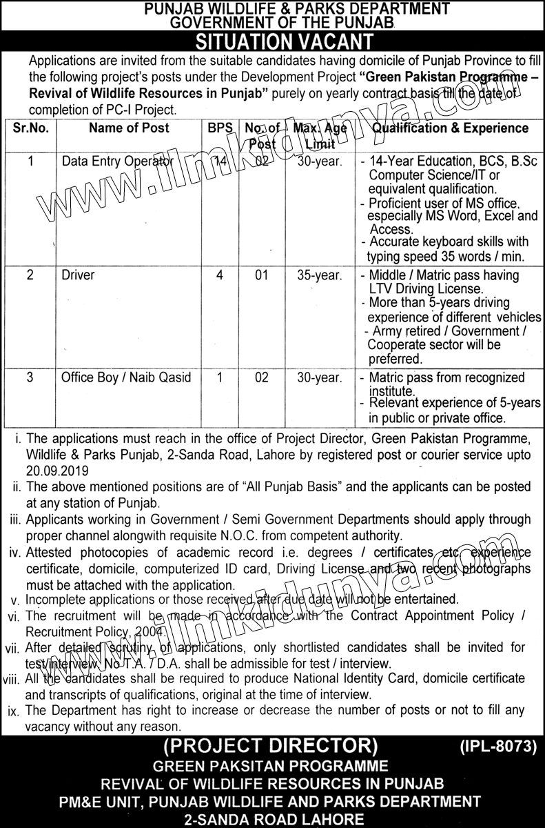 Punjab Wildlife and Parks Department jobs 2019
