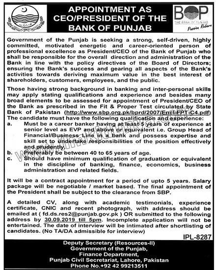 The Bank Of Punjab Jobs 07 Sep 2019 - Prepistan Jobs