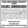 Fatima Jinnah Medical University Jobs 15 October 2019