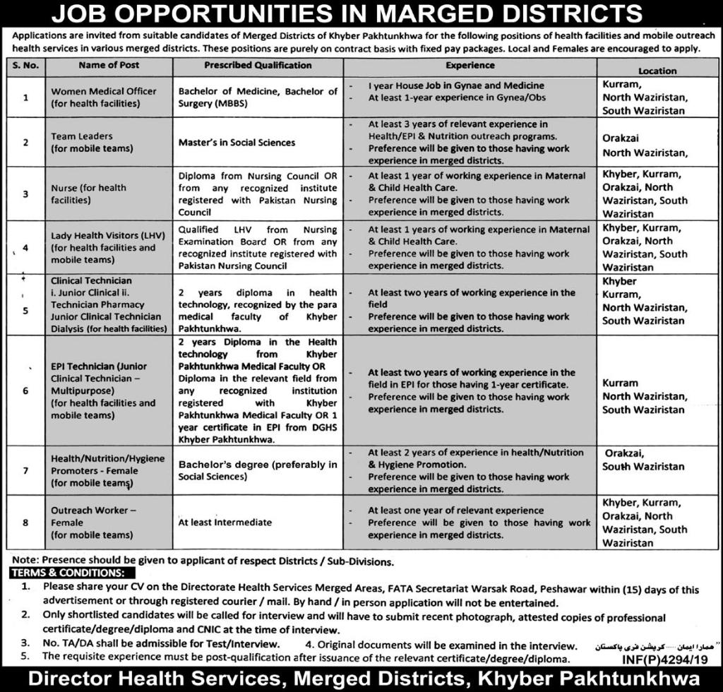 Jobs In Health Department Govt of Khyber Pakhtunkhwa 14 October 2019