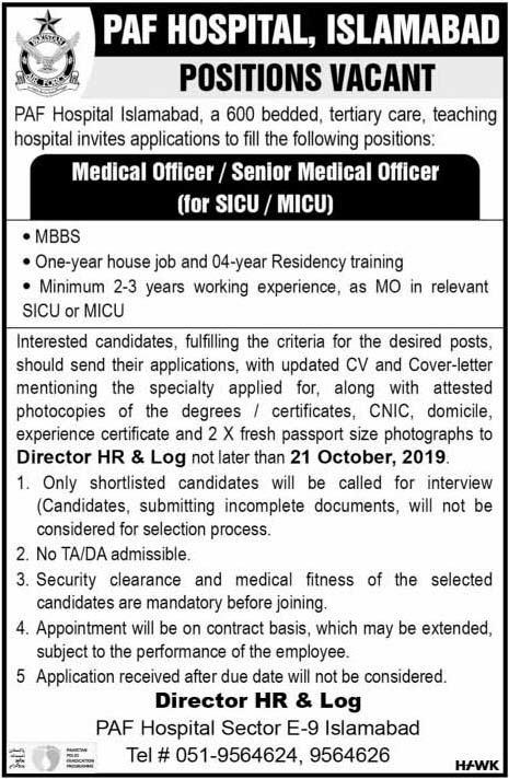 Jobs In Pakistan Air Force (PAF) Hospital Islamabad 19 October 2019