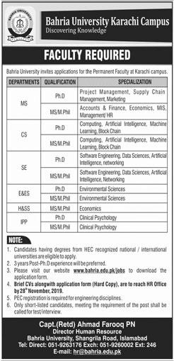 Jobs In Bahria University Karachi 17 November 2019