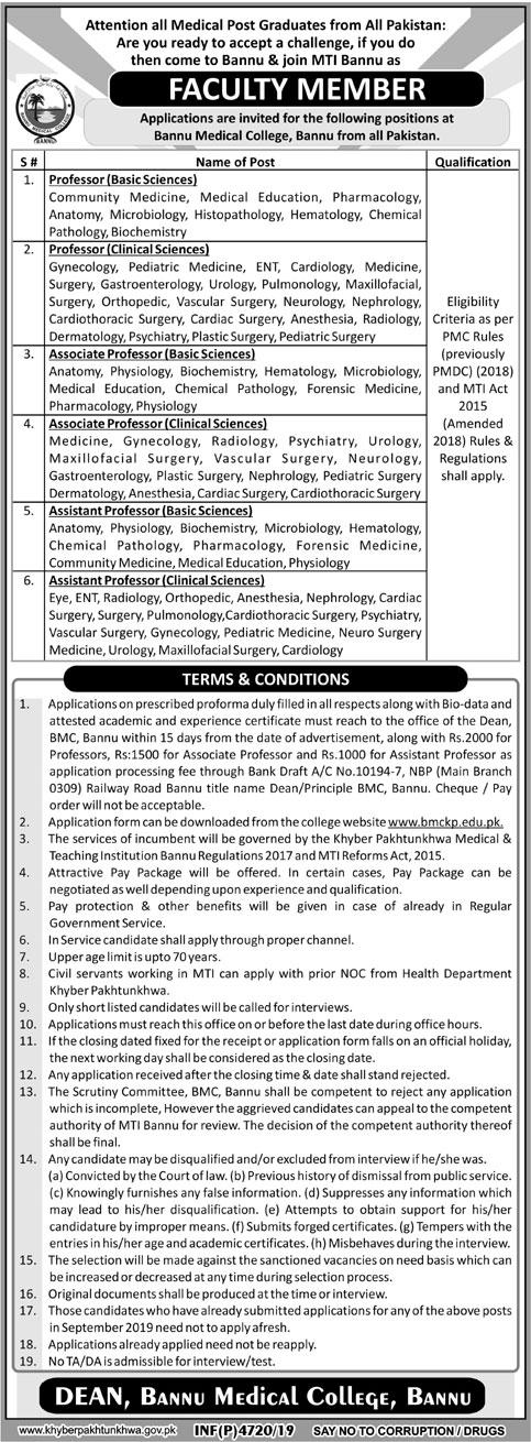 Jobs In Bannu Medical College Bannu 14 November 2019