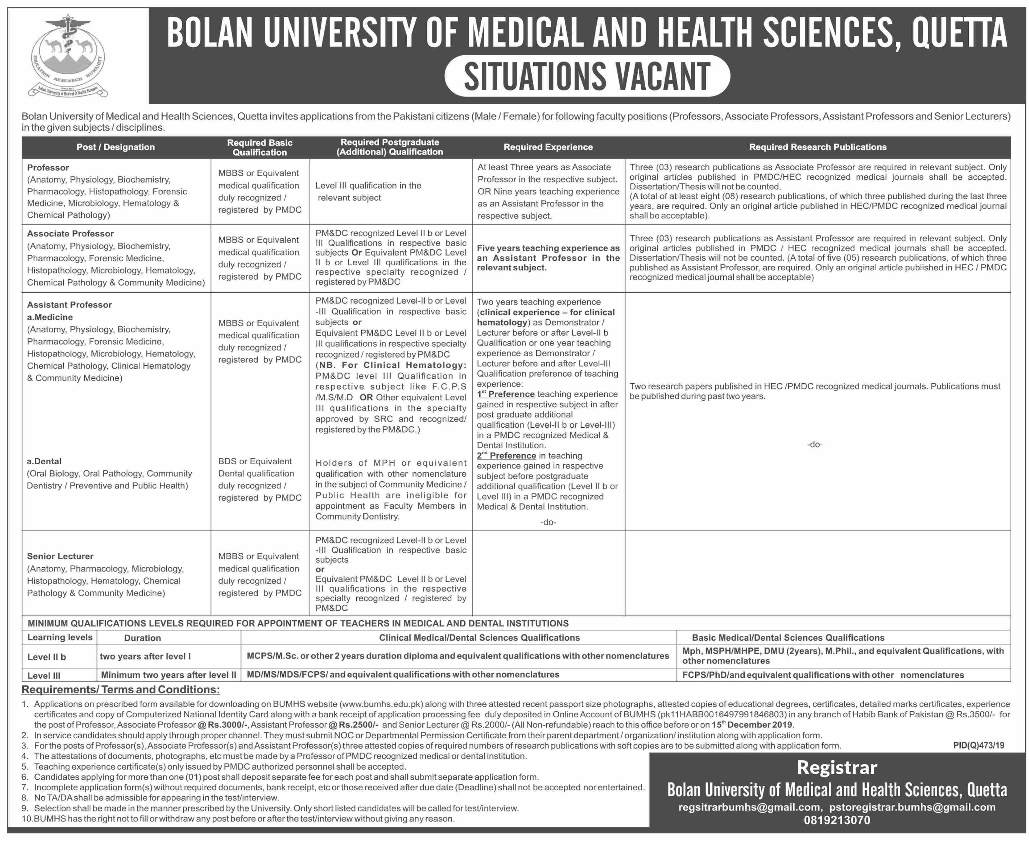 Jobs In Bolan University Of Medical and Health Sciences 09 November 2019