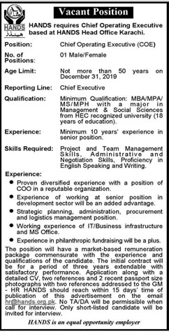 Chief Operating Executive Require In Hands 17 November 2019