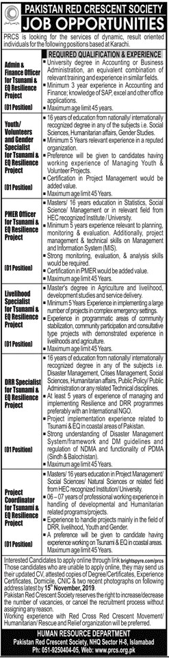 Jobs In Pakistan Red Crescent Society 09 November 2019