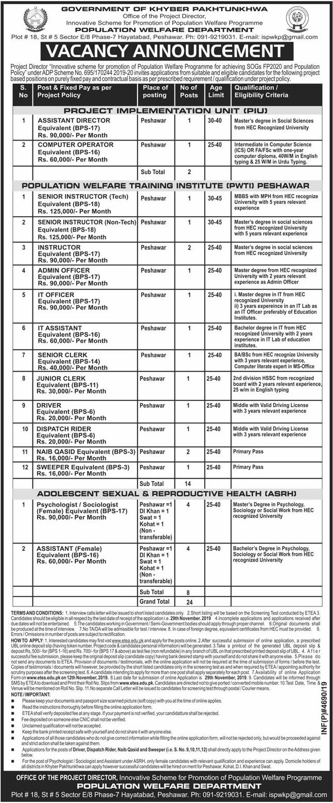Jobs In Population Welfare Department 09 November 2019