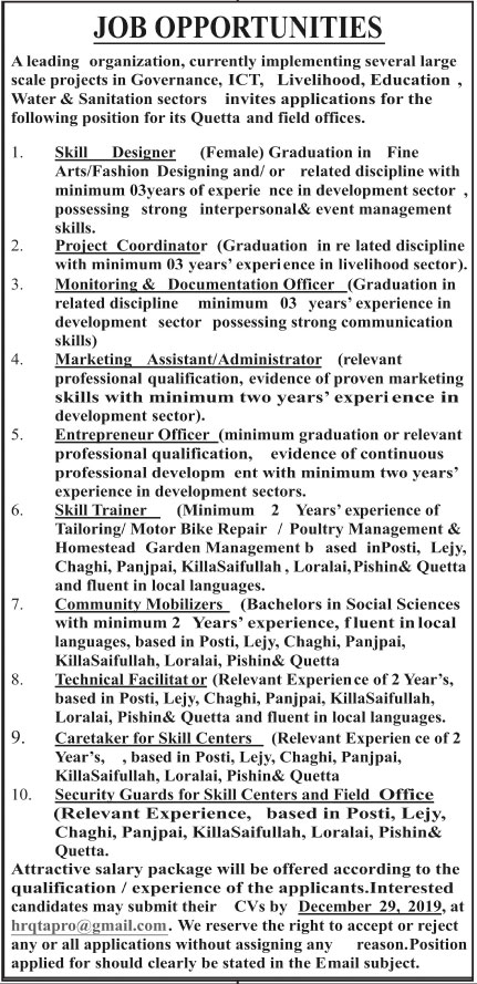 Jobs In Leading Organization In Quetta 21 December 2019