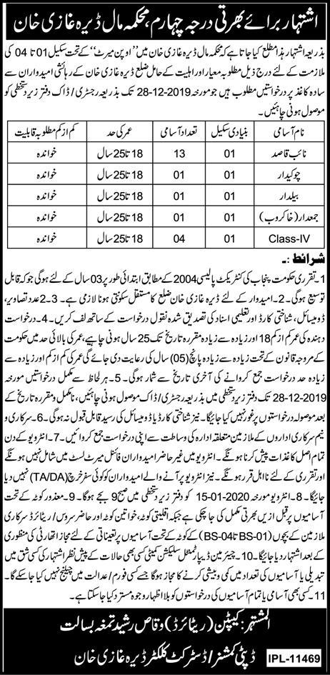 Jobs In Maal Department Dera Ghazi Khan 12 December 2019