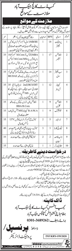 Jobs In Cadet College Jaccobabad 23 January 2020