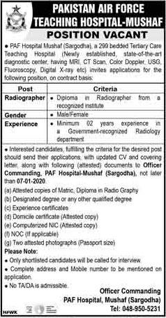 Jobs In Pakistan Air Force (PAF) Teaching Hospital Mushaf 01 January 2020