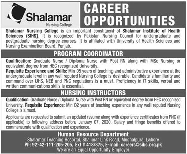 Jobs In Shalamar Hospital 03 January 2020