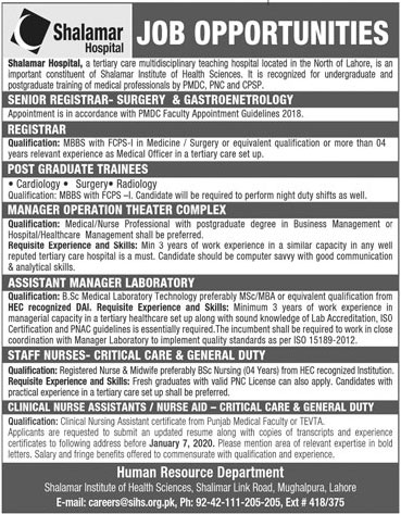 Jobs In Shalamar Hospital Lahore 03 January 2020