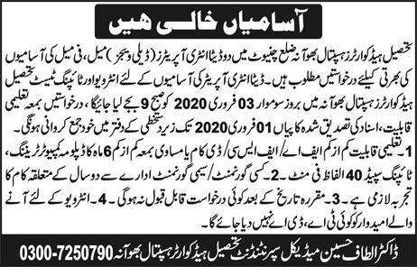 Jobs In Tehsil Headquarter Hospital Bhowana District Chiniot 22 January 2020