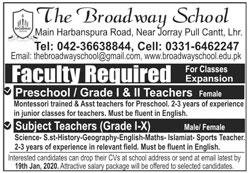 Jobs In The Broadway School 12 January 2020