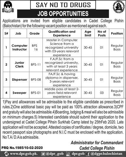 Jobs In Cadet College Pishin Baluchistan 11 February 2020