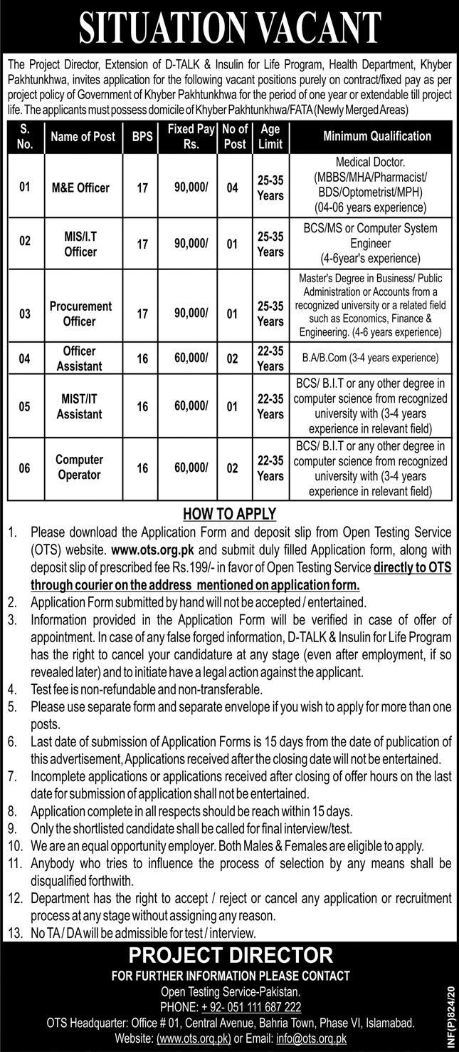 Jobs In Health Department Govt of Khyber Pakhtunkhwa 26 February 2020