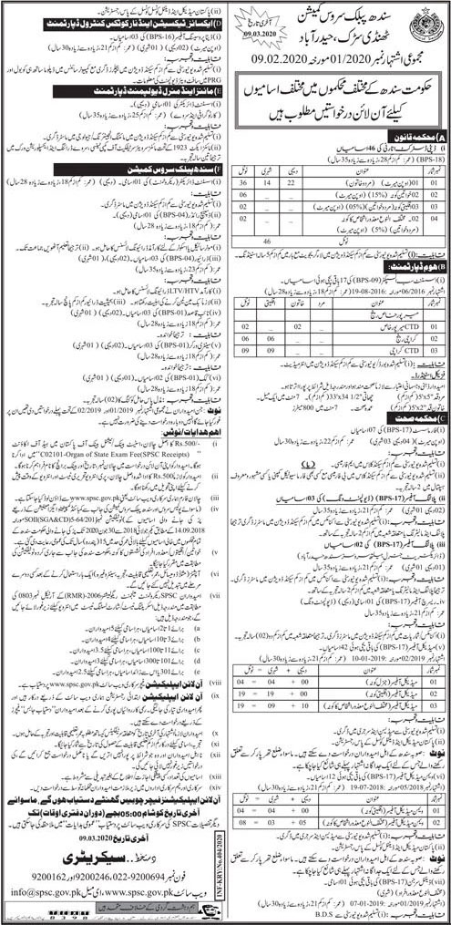 Jobs Announced In Sindh Public Service Commission (SPSC) 10 February 2020