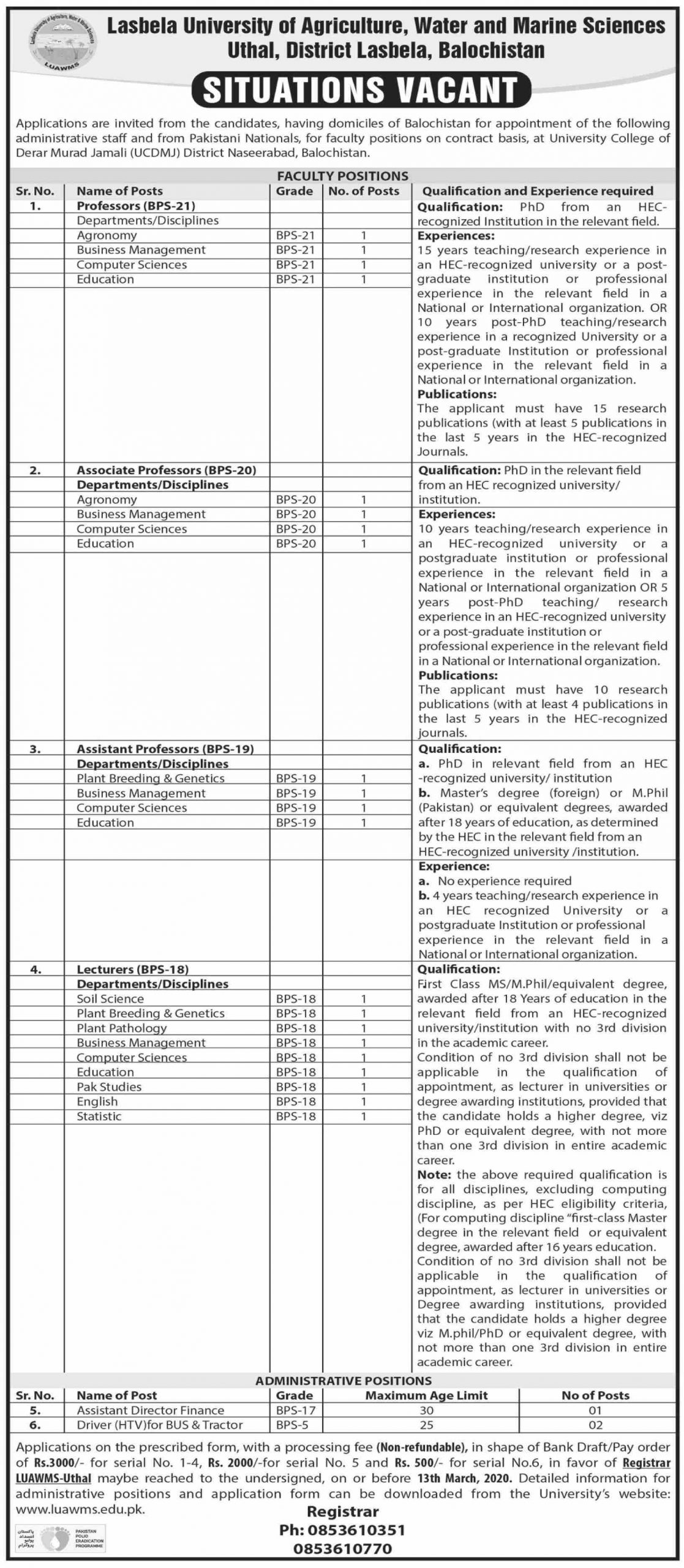 Jobs In Lasbela University of Agriculture Water and Marine Science 10 February 2020