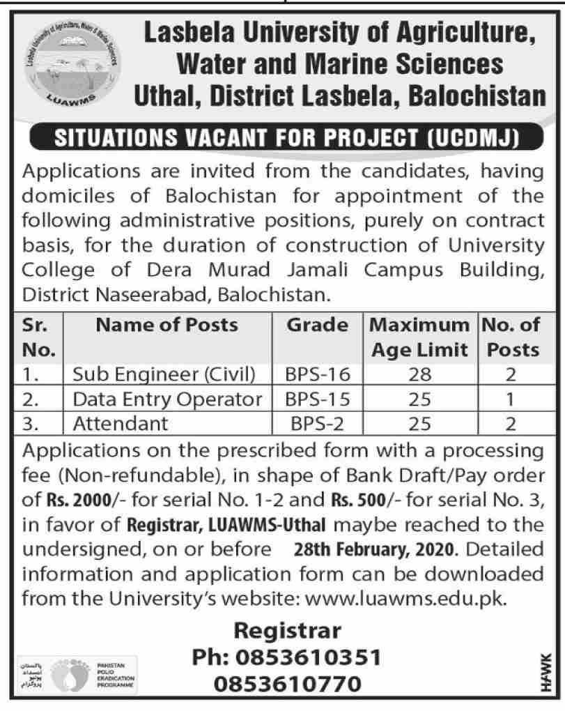 Jobs In Lasbela University of Agriculture Water and Marine Science Utahl 10 February 2020