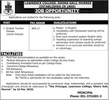Jobs In Lawrence College Murree 26 February 2020